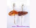 Amber Earrings / ต่างหูอำพัน [40603]